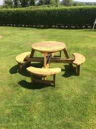 wooden garden furniture round picnic table