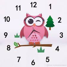 cute owl wall clocks cartoon sticker large decorative wall clocks kids bedroom children home decor big kids wall clock reloj decal stickers decal stickers