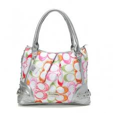 Coach Poppy In Signature Medium Silver Totes AEI Outlet