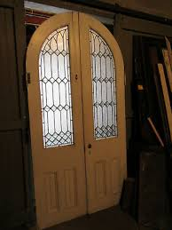 antique oak stained glass double entrance french doors arched top salvage