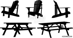 Set of silhouettes of lawn furniture including picnic table