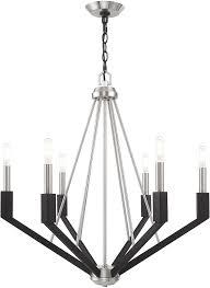 livex 51166 91 beckett modern brushed nickel black chandelier lighting loading zoom