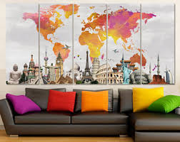 >wall art canvas etsy extra large canvas art set world map canvas watercolor world map wall art canvas map colorful wall decor travel map art wanderlust gift 5