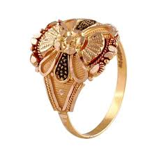 Traditional Ring Designs In Gold Traditional Floral Design Enamel Gold Ring In 2020 Gold
