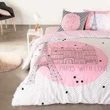 paris forever eiffel tower duvet cover black pink white selene et gaia la redoute