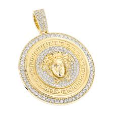 custom made diamond versace style medusa pendant medallion 18k gold 6ct yellow image