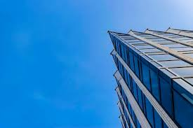 high tech modern architecture buildings. Detail Of Office Building Exterior. Business Buildings Skyline Looking Up  With Blue Sky. Modern High Tech Modern Architecture R