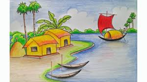 1280x720 easy scenery drawing for std 6 how to draw a village scenery step