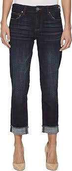 Kut From The Kloth Womens Amy Crop Straight Leg Roll Up Frey Jeans