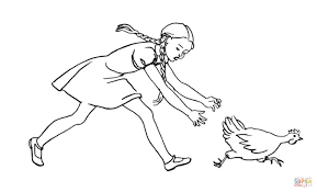 Small Picture Girl Is Chasing the hen coloring page Free Printable Coloring Pages