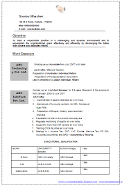 Resume Format For Chartered Accountant In India Professional