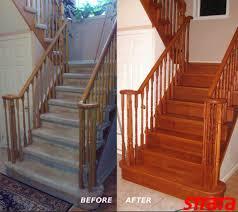 Carpet To Hardwood Stairs Hardwood Stair Refinishing Strataline Inc