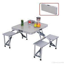 costway outdoor garden aluminum portable folding camping picnic table w 4 seats picnic table with 49 19 piece on xuhao998 s dhgate com