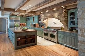 Large rustic galley light wood floor and brown floor eat-in kitchen idea in  Philadelphia