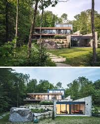 modern home architecture stone. Wood And Stone Cover The Exterior Of This Multi-Level Modern House In Forest Home Architecture E