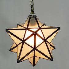 Novelty Star Shaped Tiffany Glass Pendant Lamp Art Decors Bar Aisle Pendant Light Warm Lighting Nordic Brief 30cm Dia Droplight Interior Lighting