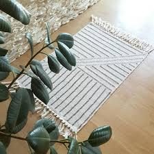 boho rug small area rug black and cream rug tassels rug smal