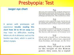 Presbyopia Test Chart Presbyopia How To Reverse It Thierry Hertoghe Md Ppt