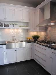 Beautiful White Kitchen Dark Tile Floors Cabinets Backsplash Grey Tileswhite With Simple Design