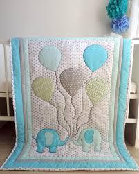 elephant baby boy quilt blue grey