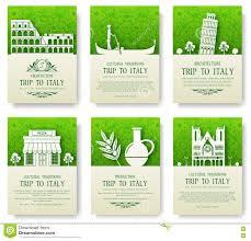 Satz Des Italien Landverzierungs Illustrationskonzeptes Kunst