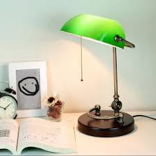 Table Lamp Traditional Retro Bankers Desk Lamp With Green Glass