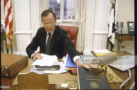 bush office. us vice president george h w bush in his office
