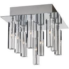 zenon 9 light flush mount in chrome with crystal