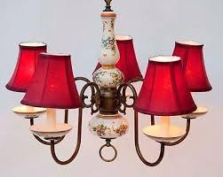 antique vintage ornate porcelain brass 5 arm chandelier made in spain