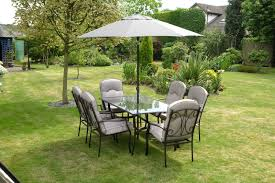 black iron outdoor furniture. Quality Black Grey Padded 6 Seater 8 Piece Metal Garden Dining Set - Table Chairs Iron Outdoor Furniture