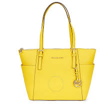 michael kors jet set top zip saffiano leather tote sunflower