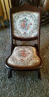 Vintage American Wooden Folding Rocking Sewing Chair Victorian ...