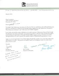 yellowstone forever fstop foundation thank you letter from ya