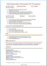 Resume Templates Administrative Assistant 2 Page Cv Template Uk Administrative Assistant Resume Cv