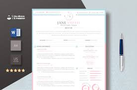 Resume Template Pinkwhite Update Resume Cv Template 1 Page Clean Resume Modern Template For Word 100 Customizable