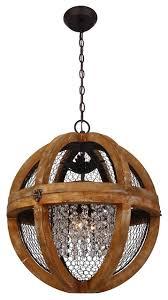 wood and metal globe chandelier antique brown