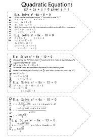 solving quadratics summary page and 3