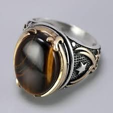 <b>New</b> Vintage Turkish Natural Onyx Tiger Eye in <b>S925 Sterling Silver</b> ...