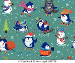 cute penguin christmas backgrounds. Brilliant Christmas Seamless Pattern With Funny Penguins Isolated On Green Background   Csp41895779 On Cute Penguin Christmas Backgrounds
