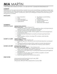 Administrative Assistant Summary Resumes Admin Assistant Resume Example Thrifdecorblog Com