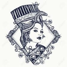 Ancient Egypt Tattoo Queen Of Egypt Nefertiti Art Nouveau Woman