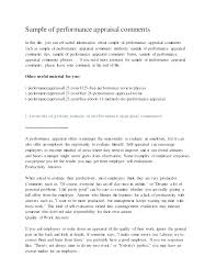 Performance Review Self Appraisal Example Staff Evaluation Comments ...