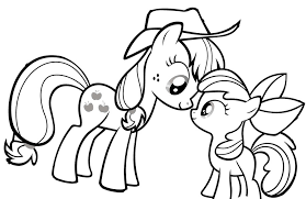 Small Picture My Little Pony Looking At Each Other Coloring Page Coloring Kids