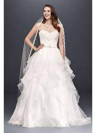 lace and organza wedding ball gown with beading david s bridal