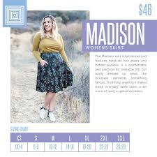 Lola Sizing Chart Lularoe Womens Lularoe Madison Skirt Size Chart Including 2018