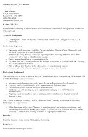 Cover Letter For Records Clerk College Administrative