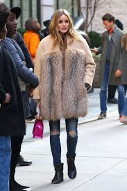 olivia palermo wearing a fur coat