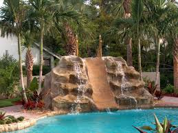 backyard pool with slides. Double Waterfall And Slide Backyard Pool Ideas With Slides D
