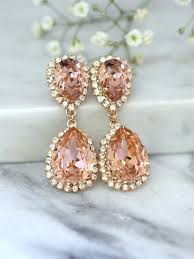 rose gold blush earrings bridal blush earrings bridal drop earrings blush statement earrings swarovski blush chandelier earrings 2592671 weddbook