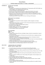 Noc Engineer Resume Samples Velvet Jobs